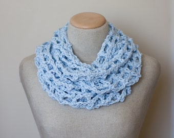 Lacy infinity scarf, cotton infinity scarf, knit infinity scarf, circle scarf, loop scarf, linen scarf, vegan clothing, bridesmaid gift