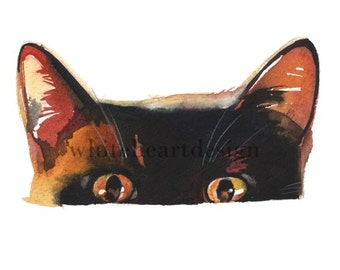 Black Sneaky Cat Clipart  Hand Painted Watercolor Digital Print Files Clip Art Instant Download Images Painting Pictures Art Commercial Use