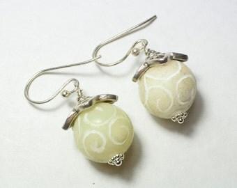 Beige Jade Earrings, carved Jade Earrings, dangle Earrings, handmade artisan jewelry,