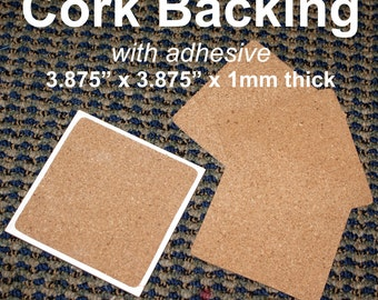 Cork Backing with adhesive for ceramic tile coasters (Dye sublimation, decal, stone, glass, peel and stick)