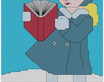 The Caroling Girl 3x4 cross stitch pattern