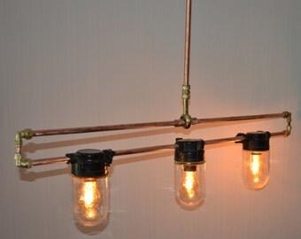 SOLD - Hanging Multiple Pendant - Hanging Pendant Light - Steampunk Pendant - Steampunk Ceiling Light - Steampunk Lighting