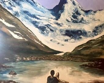 Mountain Scene Landscape - Oil Painting
