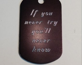 Dogtag with sentence