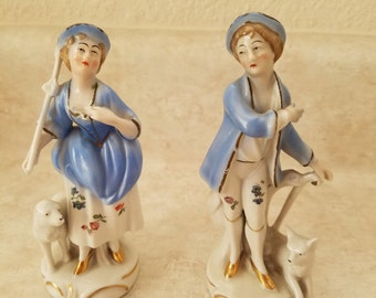 Set of Two Lady and Gentleman Porcelain Figurines - Made in Germany
