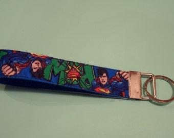 Superman Key Fob Wristlet with Nickel Hardware