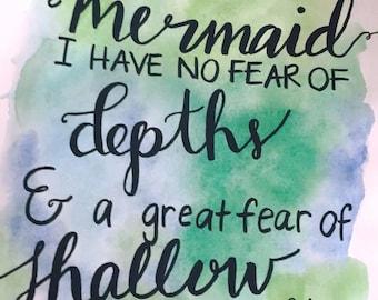 I must be a mermaid Watercolor Print