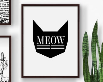 Meow, Scandinavian Cat Print, Cat Art Print, Meow Art, Black Cat Art, Black Cat Print, Kitten Art, Kitten Print, Meow Print, Cat Printable