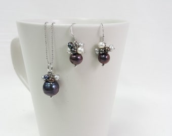 """ON SALE*******Pearl Set Grey Black White Freshwater Pearl with sterling silver chain 18"""""""