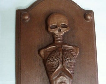 Skeleton Plaque Wall Hanging - Cold Cast Copper