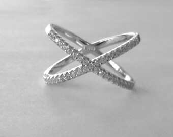 Criss Cross Ring Sterling Silver cubic zirconia