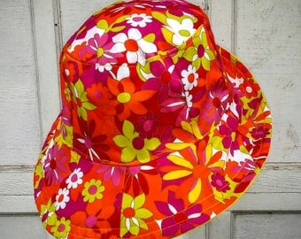 Women's Sun Hat 24 inch  Repurposed reversible bucket pink and yellow flowers 25  ready to ship
