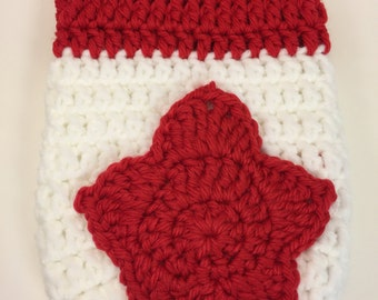 Canadian Flag Inspired = Cast Cozy/Cast Sock/Toe Cover = Ready to ship.