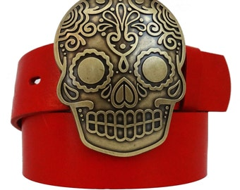 Red Skull buckle leather belt