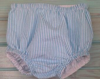 Aqua/white stripe diaper cover by That's Sew Mimi