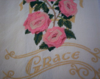 Victorian Pink Roses Embroidered Tea Towel, Grace Embroidered Tea Towel, Pink Roses and Grace Embroidered Tea Towel, Flour Sack Towel