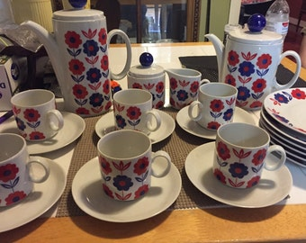 Vintage winterling Bavria coffee and tea set red and blue flowers.