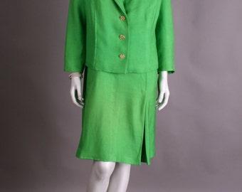 Green 60s linen costume
