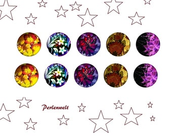 Glass cabochons 10 mm - 10 pieces - hand made