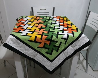 Handmade patchwork tablecloth with embroidery
