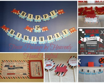 Train Birthday Package, Train Ticket Invitation, Choo Choo Invitations, Choo Choo Birthday, Train Birthday, Red and White and Blue Birthday