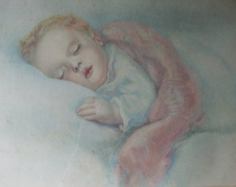 Vintage Origional Pastel WaterColor Drawing Painting Art Glass Picture Frame Child Baby Sleeping