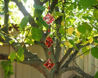 Fused Glass Suncatcher - Red and White