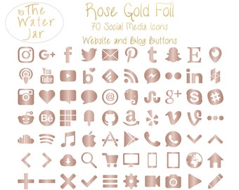 Rose Gold Social Media Icons, Rose Gold Graphics, Social Icons, Soft pink Metallic Website & Blog Resources, Blog buttons