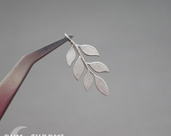 0495 - Pendant Connector, Matte Original Rhodium Plated, Odd Pinnate Leaf Branch Twig Pendant, 2 Pieces