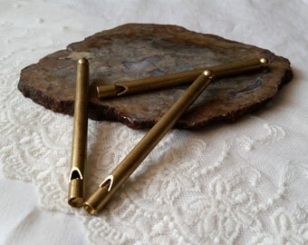 Brass Whistle -  Working Whistle - 88mm or 3 1/2 Inches,  STEAMPUNK Pendant, Charm, Long Brass Whistle