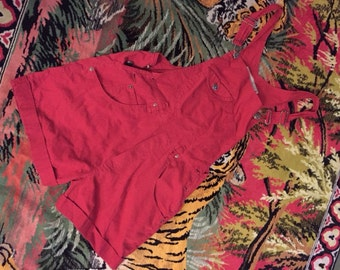 Vintage 90's Red Overall Shorts