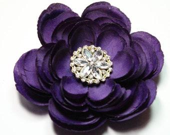 Purple Flower Hair Clip Accessory