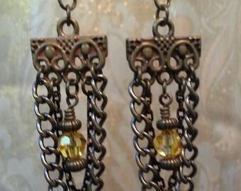 E07 Earrings Antiqued Brass Chain w/ Swarovski Crystal