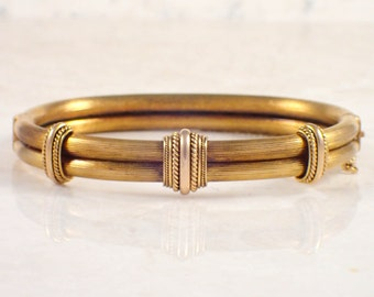 14K Yellow Gold Victorian Bangle Bracelet