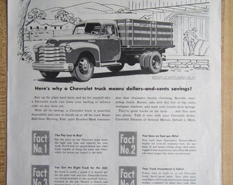 1952  CHEVROLET TRUCK Ad and walker mufflers  ad on back **magazine ad