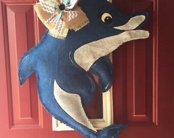 Dolphin Burlap Door Hanger