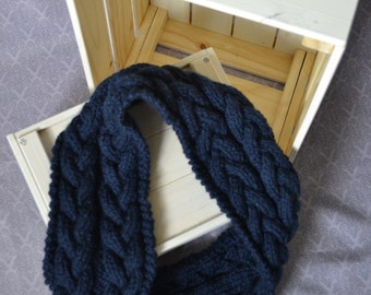 Knitted cables chunky infinity navy blue scarf, comfy and warm for winter and spring - cozy fashion for her - women winter wear