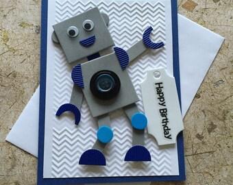 Handmade Robot Birthday card