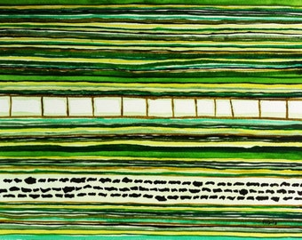 Abstract Watercolor, Watercolor, Abstract Landscape, Horizontal Striped Painting, Modern Wall Decor, Fine Art, Original Green Art, Minimal Art