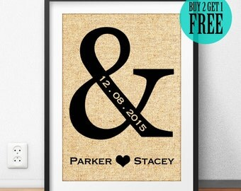 Personalized Engagement Gift, Wedding Gift, Bridal Shower Gift, Gifts for Couple, Anniversary Gift, Rustic Wall Art, Burlap Print, CM13
