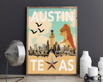 AUSTIN TEXAS Print - Texas gift Texas Art, Austin art, Texas Shaped, South Congress art,  Austin Travel print, Austin Skyline, Austin Gift