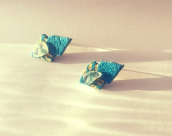 Teal Leather studs