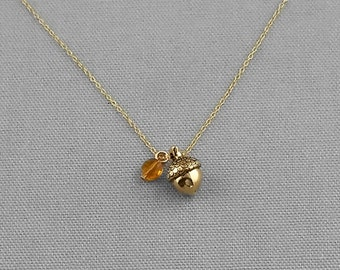 Fall Acorn Necklace, Personalized Birthstone Necklace