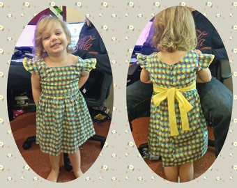 Handmade Vintage Ella Dress, child's dress with bow tie at the back
