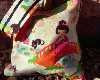 asian print bag with inside pocket