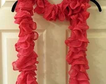Hot Pink Fishnet Ruffle Scarf