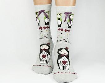Matruska Socks, Women Socks, Funny Socks, Cute Socks, Winter Socks, Leg Warmers, Casual Cotton Ladies Socks, Ankle Socks, Fashion For Ladies