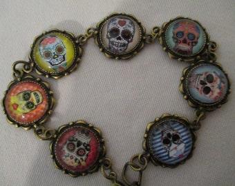 Rainbow Mexican cabochon bracelet