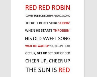 LYRICS POSTER - Red Robin - Or any song/words/sports anthem!