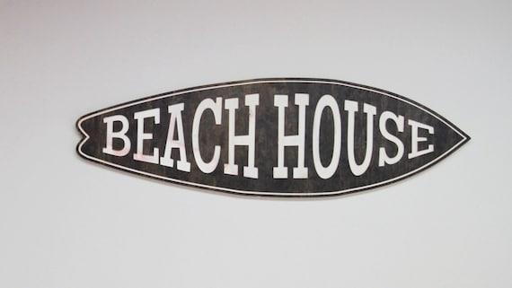 Stained Wood Beach House Engraved Sign Surf Board Cutout Wall Home Decor